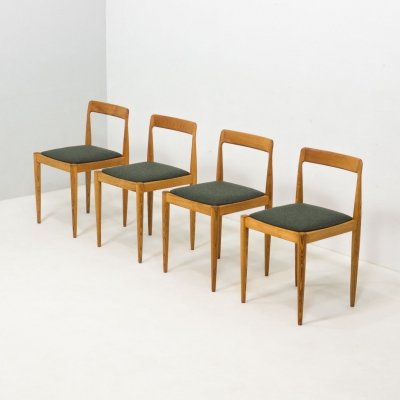 Vintage set of 4 solid ash wood dining chairs