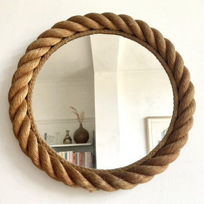 Rope mirror by Audoux & Minet, France 1950-60