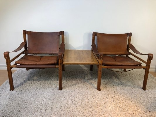 Arne Norell 'Sirocco' Brazilian Rosewood easy chairs & matching sidetable, 1960s