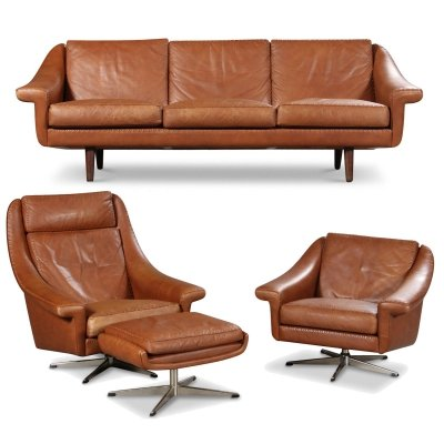 Vintage Danish design Aage Christiansen leather seating group