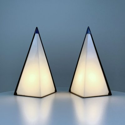 Set of 2 Postmodern Pyramid Lamps by Zonca Italy, 1980s