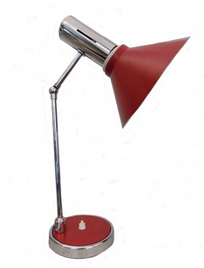 Stilux Milano Table lamp in chromed & red painted metal, 1970s