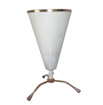 Table lamp in white painted metal & brass tripod, 1970