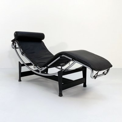Black LC4 Lounge chair by Le Corbusier for Cassina, 1970s