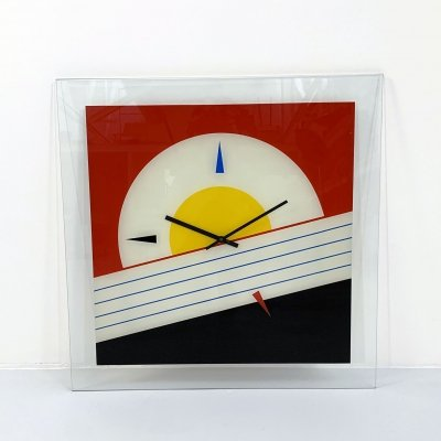 Memphis style clock in glass, 1980s