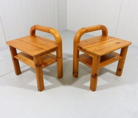 Set of 2 pine wood night tables, 1970's