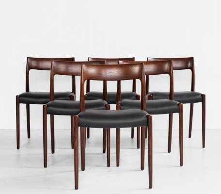 Midcentury Danish set of 6 chairs in rosewood by Niels Otto Møller, 1960s