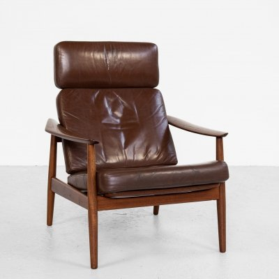 Midcentury Danish lounge chair in teak & leather by Arne Vodder for France & Son