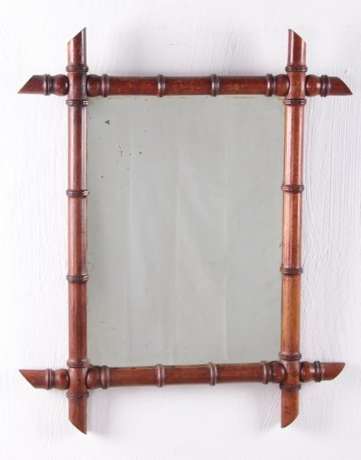 Vintage Large French Bamboo Mirror, 1920s