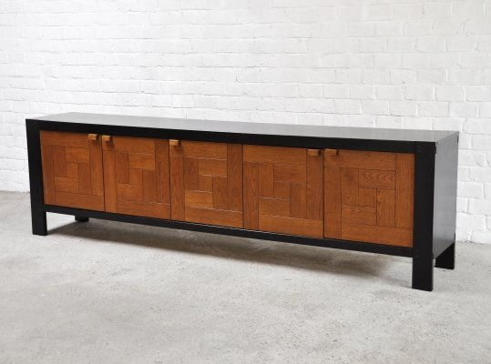 Large Graphic Brutalist Credenza In Black & Stained Oak, Belgium 1970s