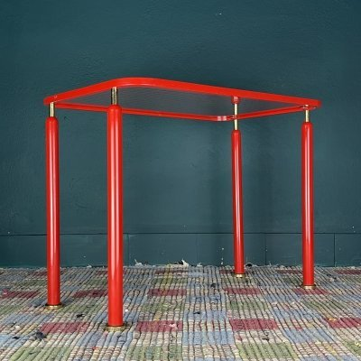 Mid-century red metal coffee table, Italy 1960s