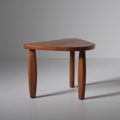 Solid Pine wooden plectrum shaped table from Les Arcs, France 1960s