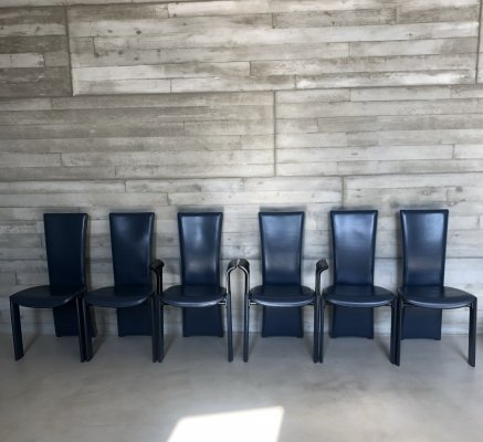 Set of 6 high back blue leather dining chairs by Pietro Costantini, Italy 1980s