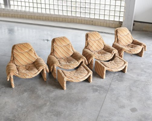 Set of 4 Proposal P60-61 lounge chairs by Vittorio Introini for Saporiti, 1970s