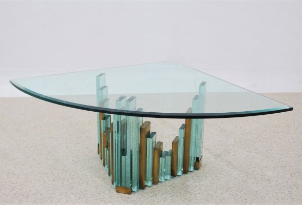 Vintage brutalist style glass coffee table, 1980s