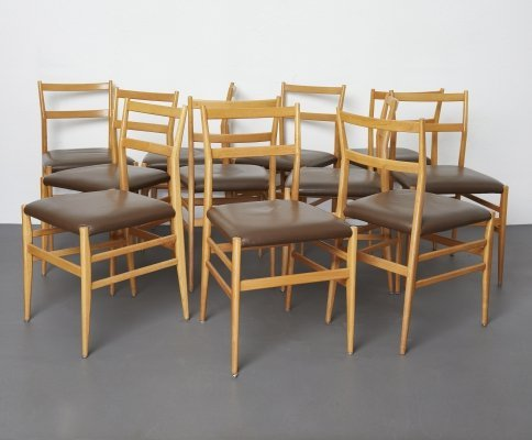 Set of 12 Leggera dining chairs by Gio Ponti by Cassina, 1960s