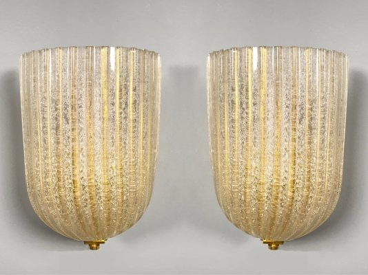 Pair of Sconces by Barovier & Toso, Murano Italy 1970s
