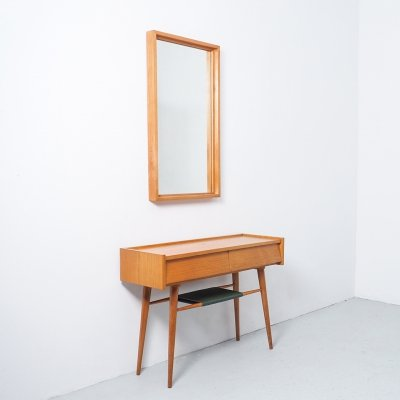 Vintage wooden hall or console table with mirror, 1960s