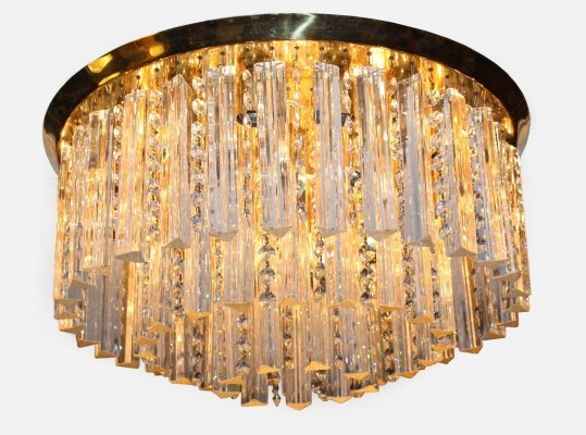 J.T. Kalmar Round ceiling lamp in gold with 36 kg Crystals