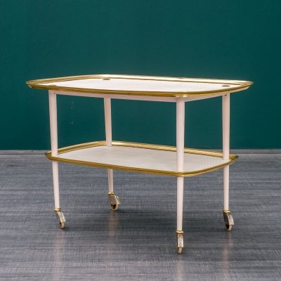 Vintage 1950s serving trolley in brass & perforated metal plates
