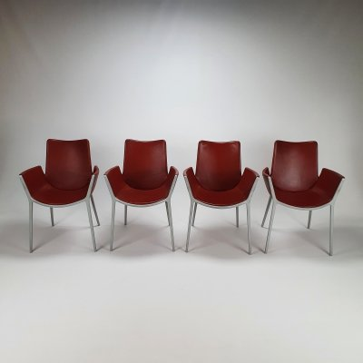 Set of 4 Red Leather & Aluminium Duna Chairs by Jorge Pensi for Cassina, 1990s