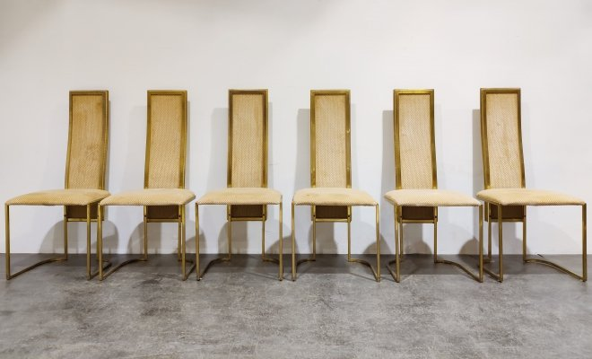 Set of 6 high back dining chairs by Belgochrom, 1970s