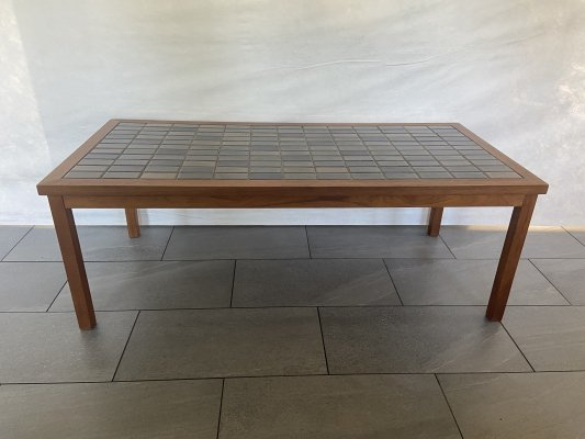Table with tiles in blue & green with teak frame/legs