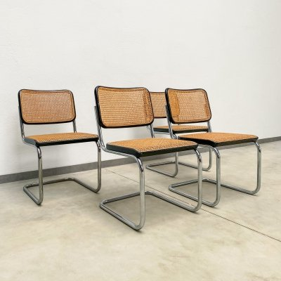 Set of 4 original Thonet S32 dining chairs by Marcel Breuer, 1970