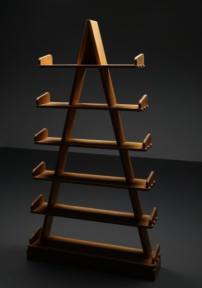 Sculptural book shelves in solid wood, 1980s
