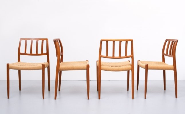 Set of 4 model 83 dining chairs by Niels O. Møller, 1960s