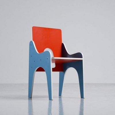 Sculptural kids chair in laminated wood, Italy 1960