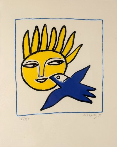 Corneille 'The Sun And The Bird', signed Lithography