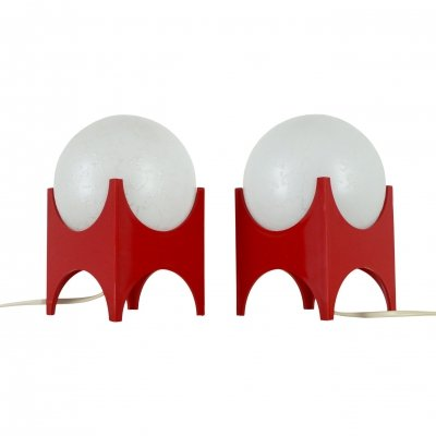Pair of small funky retro glass globe table lights, 1970s