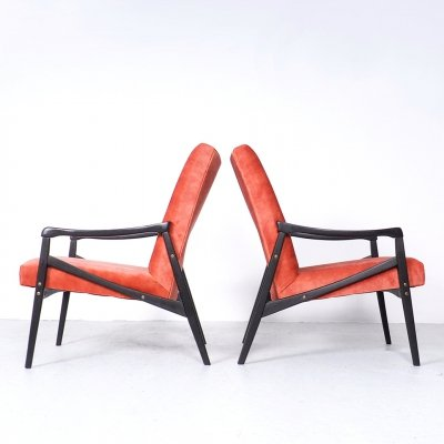 Mid-century design Interier Praha lounge chairs in coral red velvet, 1960s