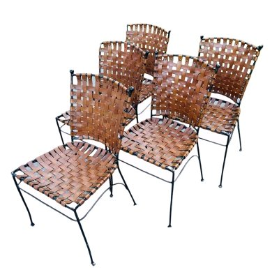 Set of 5 metal leather dining chairs, Italy 1970s