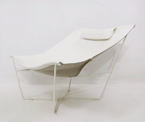 White leather & steel 'Semana' Chair No. 501 by David Weeks for Habitat UK, 1990s