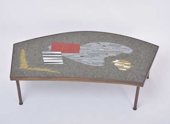 Large Midcentury Mosaic & Brass Coffee Table by Berthold Müller-Oerlinghausen