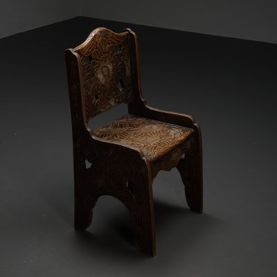 Hand carved side chair made in Japan, Distributed by Liberty Co - UK