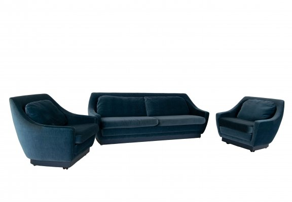 Set of Art Deco Style Velvet Blue Sofa & Two Lounge Chairs, The Netherlands