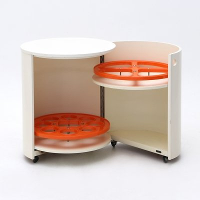 'Round' white lacquered bar cabinet from Merati, 1970s