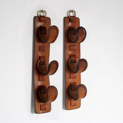 Pair of Leather bottle holders, France 1950s