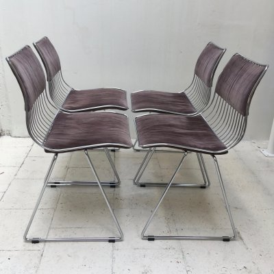 Set of 4 Rudi Verelst dining chairs with dark fabric for Novalux, 1970's