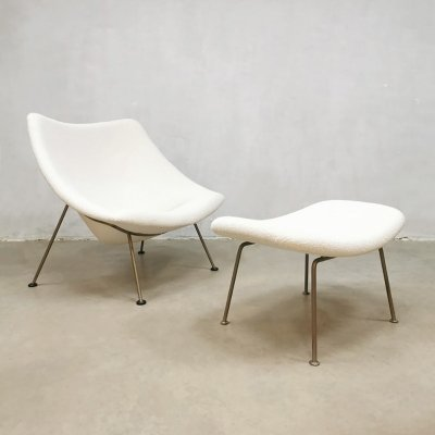 Vintage Dutch design 'Oyster' F157 easy chair ottoman by Pierre Paulin for Artifort
