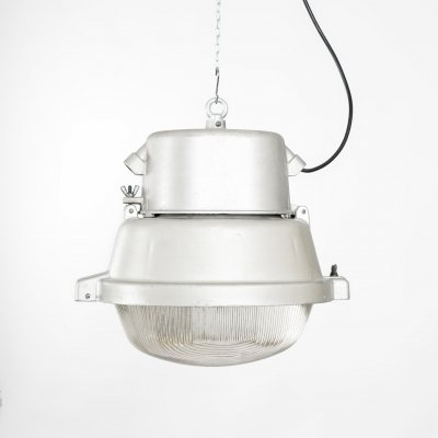 Industrial lamp in metal & glass by Mesko, Poland 1970's