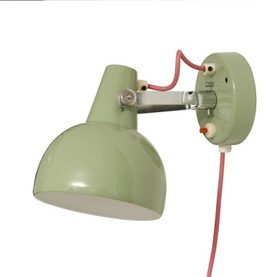 Green metal wall lamps with pink cable by Josef Hůrka for Lidokov, 1960s