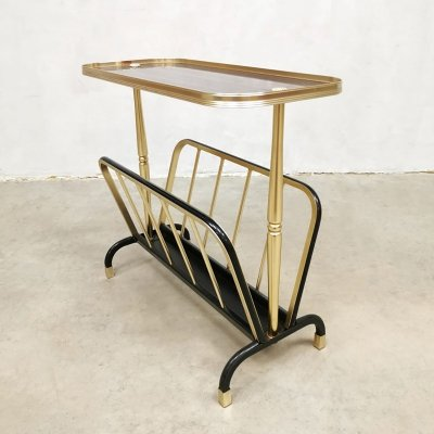 Vintage brass side table / magazine holder by MB Italy
