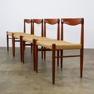 Set of 4 Teak & papercord dining chairs H.W. Klein for Bramin