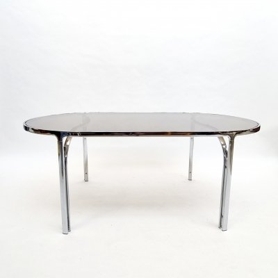 Midcentury chrome smoked glass dining or table or desk, 1970s