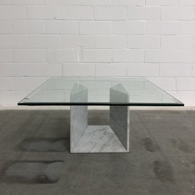 Italian Coffee table with marble & glass