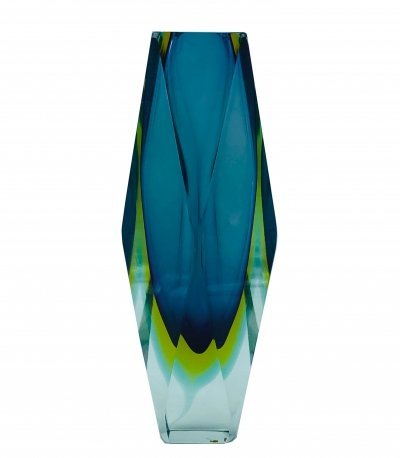 Submerged faceted diamond cut Murano glass vase, Italy 1960